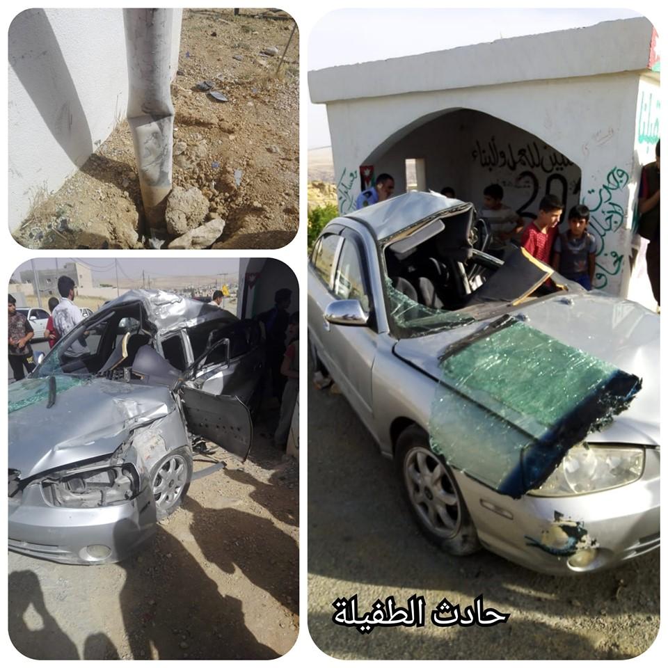 وفاة فتاتين بحادث تدهور واصطدام بعمود كهرباء بمحافظة الطفيلة