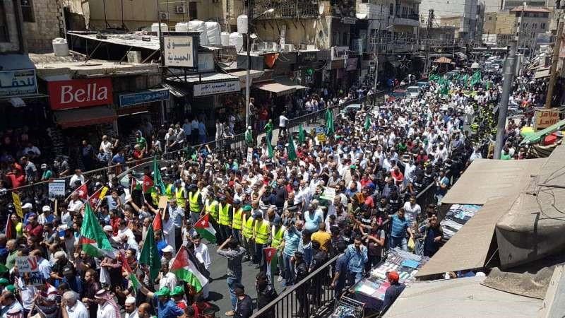 مسيرة شعبية حاشدة وسط البلد/ عمان ظهر اليوم رفضاً لصفقة القرن وورشة البحرين