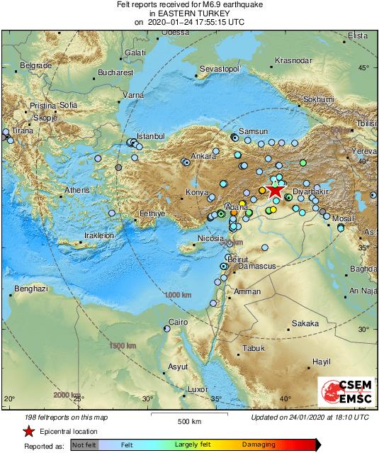 4 قتلى وعدد من الجرحى الاتراك في زلزال قوي ضرب تركيا وشمال سوريا والعراق/ فيديو