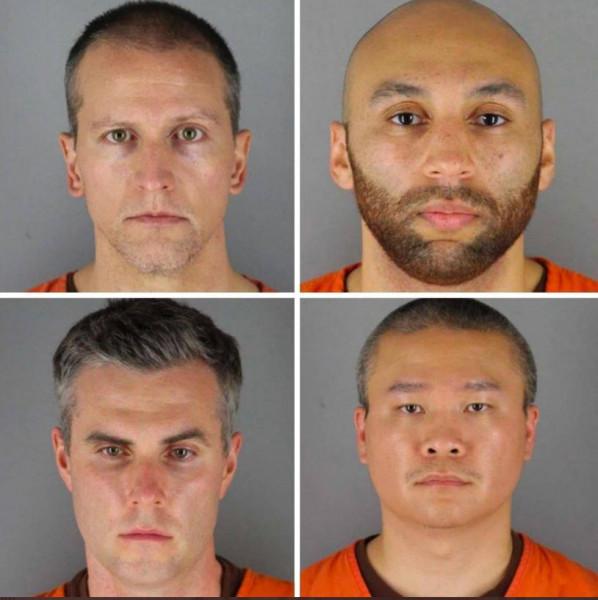 عصابة الاربعة.. أول صور لضباط الشرطة الأربعة العنصريين المتورطين في قتل المغدور