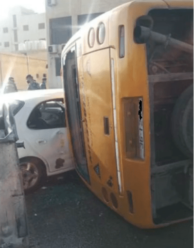 وفاة سائق باص مدرسة تعرض للتدهور بمنطقة طبربور بعمان