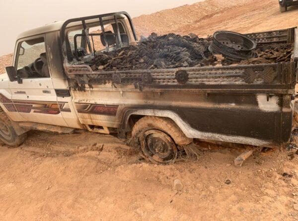 الجيش يدمر مركبة محملة بالمخدرات على الحدود السورية